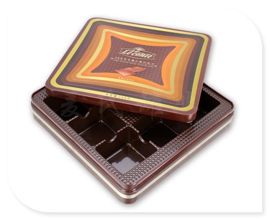 正方形黑巧克力铁盒展开图