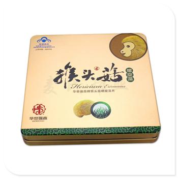 猴头菇饼干铁盒子,正方形食品罐包装厂